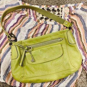 {FOSSIL} Lime Green Leather Purse Handbag